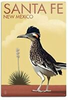 SANTA FE NEW MEXICO TIN SIGN ROADRUNNER LITHO LITHOGRAPH METAL SIGN AZ ARIZONA