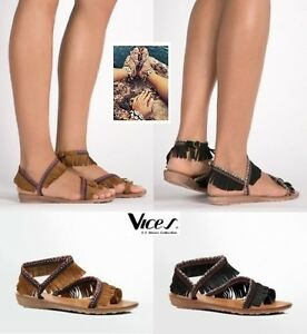 Womens-Ladies Boho Flat Strappy Sandals Gladiator Toe Peep NEW*UK STOCK