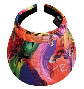 New Radicool Multi Colour Rosella Feather Print Women's Visor /  Broad Brim Hat