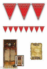 Wild West Party Pack Room Decorations Cowboy Bunting Saloon Door Wanted Poster