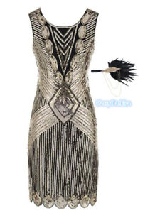 H4-4 Deluxe Gatsby Ladies 1920s Roaring Party Flapper Sequins Outfit Black Gold