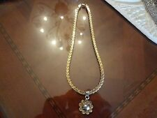 Choker Necklace And Pendant-925- Large Vintage Sterling Silver