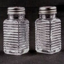 Ribbed Glass Salt and Pepper Shakers Vintage-Retro Style Set - Stainless Tops