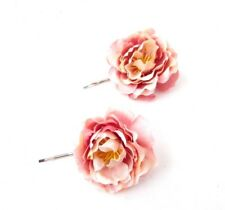 2 x Beige Blush Pink Wild Rose Flower Hair Grips Clips Bobby Pins Slides 4311