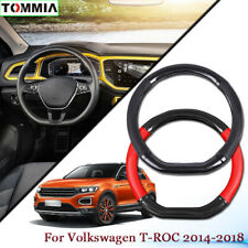 Car Styling Carbon Fiber Leather Car Steering Wheel Cover For Volkswagen T-ROC