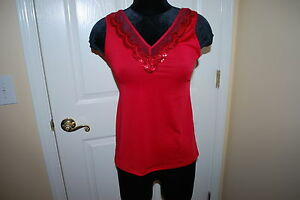 NWT CABERNET RED SEQUIN V-NECK KNIT CAMI CAMISOLE DAYWEAR SLEEP TOP SZ L LARGE