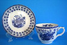Enoch Wedgwood The Classic Tea Cup & Saucer Blue White Fruit Basket Vtg Estate