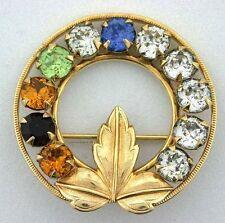 12 Karat Yellow Gold Filled Round Floral Leaf Wreath Pin Vintage 4617