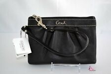 COACH Black Leather Wristlet Coin Purse Makeup iPhone Bag Clutch Keys Wallet NWT
