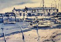 "ORIGINAL painting cobb Lyme regis youtube Dorset blue 15""x11""  Marilyn Allis"