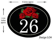 8 x 5 3/4 pollici in alluminio Ovale Floreale Design House, PORTA, Caravan Placca/Firmare Nuovo