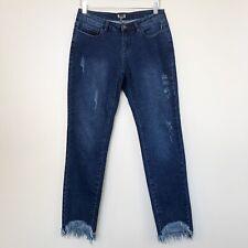 AZI Womens Jeans Dark Wash Distressed Raw Hem Stretch Skinny Denim Size 4