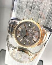 NEU Emporio Armani AR11076 Herren Uhr Chronograph Edelstahl Farbe Silber Gold OV