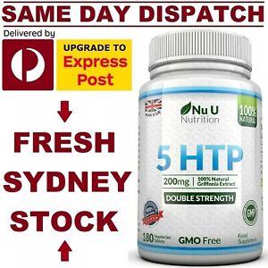 5 HTP 200mg 180 Tabs DOUBLE STRENGTH PREMIUM GRADE Stress Sleep Nu U Nutrition!