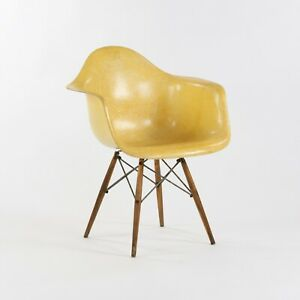 Herman Miller Eames Zenith DAW Lemon Yellow Arm Shell Chair w Dowel & Rope Edge