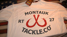 Montauk Tackle Mens LS Medium Performance Crew Neck Shirt- White Logo NWT