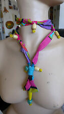 HANDMADE STATEMENT FABRIC +WOOL NECKLACE AND BEADS NO METAL NO STONE MULTICOLOR