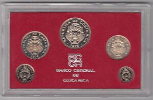 1976 Banco Central de Costa Rica 5 Coin Proof Set in Slipcase - Nice