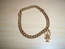 Vintage Gold Tone Link Bracelet Blessed Mother Charm
