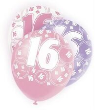 Pink Glitz 16th Birthday Age 16 Pack 6 Latex Party Balloons Suit Air Or Helium