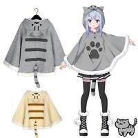 Neko Atsume Cat Women's Lolita Hooded Cape Cloak Tail Sweatshirt Cute Coat Tops