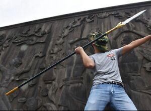 Chinese Wushu Sword Spear Sharp Manganese Steel Blade Hunting Knife Tiger head