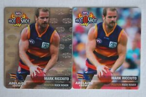 Adelaide Crows AFL Football Hard to Find Hot Shot Tazos x 2 Mark Ricciuto