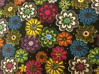 Camelot Happy Floral Painted Flower Black 100% cotton flannel fabric by the yard