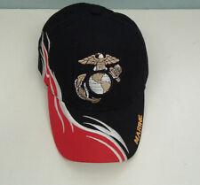 marine black with flames baseball cap hat embroidered eagle  adjustable