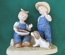 Homco Figurine.Denim Days.1985.Boy & Girl Picking & Sampling Strawberries!