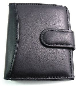 BLACK REAL LEATHER CREDIT CARD HOLDER WALLET BANK NOTE SECTION HOLDS 24 CARDS