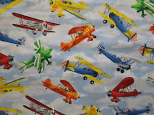VINTAGE PLANE AIRPLANES PROP PLANES SKY BLUEC OOLORS COTTON FABRIC 8 1/2 IN CUT