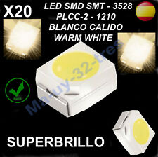 x20 Led SMD SMT 3528 PLCC-2 - 1210 Blanco cálido - Warm White - (Alta Calidad)