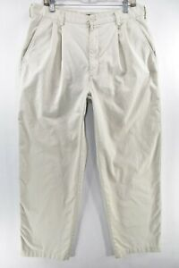 Nike Mens Golf Pants Pleated Front Cotton Size 36 White Meas. 34x30.5