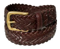 796 - Men's Full Grain Braided Cowhide Leather Belt w/Solid Brass Buckle