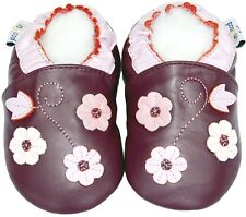 Soft Sole Leather Baby Shoes Toddler Kids Girl Gift Prewalk Flower Purple 18-24M