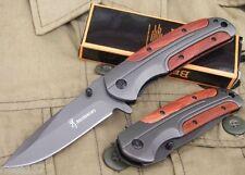Couteau Pliant de Poche BROWNING Lame Acier 9 cm Manche Acier/Bois 11,5 cm
