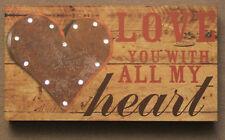 "Caring Romantic Gift ""Love You.."" Light-up Decorative Desktop Shelf Sign Placard"