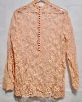 Vintage 70s Peach Floral Lace Sheer Blouse Top Long Sleeve Half Button L Collar