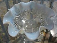 Vintage Jefferson Glass Company Opalescent Beaded Fans Footed Bowl