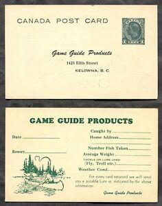 KELOWNA BC 1940s Postal Card. Game Guide Products Advertising. Fishing  (p02025)