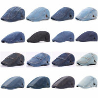 Men Classic Denim Driving Golf Cap Adjustable Cabbie Newsboy Casual Beret Hat