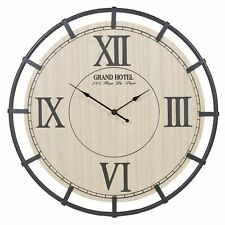 46cm Roman Numeral Wooden Wall Clock Industrial Style Frame Rustic Vintage Style