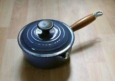 Genuine Le Creuset Blue Pan Cast Iron Saucepan Pot With Lid 16cm Wooden Handle