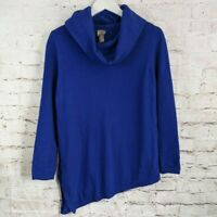 Chicos Size 2 Blue Long Sleeve Cowl Neck Asymmetrical Tunic Sweater Large