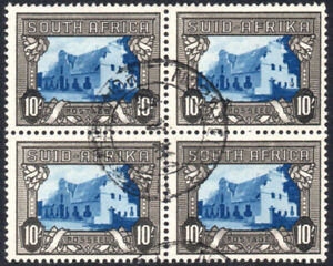 South Africa 1933-48 10s blue & blackish brown BLOCK of FOUR, SG.64c, VFU