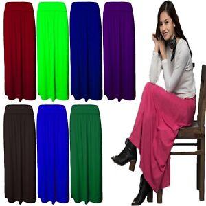 New Women's Ladies Pleated Fold Over Waist Jersey Gypsy Long Maxi Skirt UK 8-26
