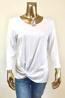 CHICO'S $64 NWT WHITE TWIST FRONT 3/4 SLV TOP SIZE 1. (M)