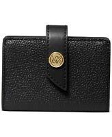 Michael Kors Tab Card Case Pebbled Leather Black/Gold Wallet NWOT NEW
