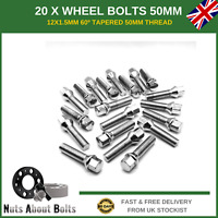 20 X Extra Long Wheel Bolts M12X1.5 50mm For BMW With Spacers Alloy Wheels